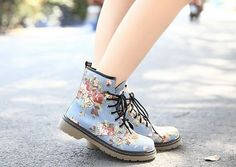 Floral Combat Boots from Cloudy Apparel on Storenvy