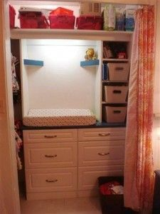 Small Closet Nursery Ideas Changing Station Ideas For 2019 Small Nursery Organization, Apartment Closet Organization, Organization Ideas, Organizing, Small Rooms, Small Spaces, Small Nurseries, Nursery Shelves, Changing Station