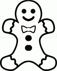 how to draw a gingerbread man easy step 6 Christmas Rock, Toddler Christmas, Simple Christmas, Christmas Crafts, Christmas Vinyl, Toddler Drawing, Drawing For Kids, Painting For Kids, Christmas Drawings For Kids