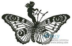 Girl Riding Butterfly Counted Cross Stitch Pattern http://www.artecyshop.com/index.php?main_page=product_info&cPath=56&products_id=1226