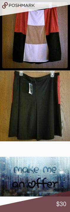 Cupio color block retro mod micro suede work skirt Multi color block. New with tags. Micro faux suede material-very soft, not shift. Colors black, brick, cream, and tan. 17 waist (stretches to 18) , opens to 30, total length 21.5. Classy retro and good for day to night. Pretty versatile with a sweater or dress top.  **Paired top SOLD** cupio Skirts Midi