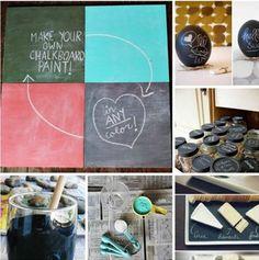 Zelf schoolbordverf maken    Nodig:  Een kopje latex of acrylverf (elke kleur kan)  2 eetlepels voegmortel/tegelvoeg (bij voorkeur zo fijn mogelijk)    Dit meng je, en kan je meteen aanbrengen op materiaal naar keuze, ongeveer 3 lagen aanbrengen, tussendoor drogen.    (Bron: FB DIY - Do it Yourself)