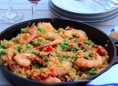 This Shrimp Paella is super versatile and delicious!! Can easily substitute lobster, fish, or poultry! #recipes #healthy #skinnyms