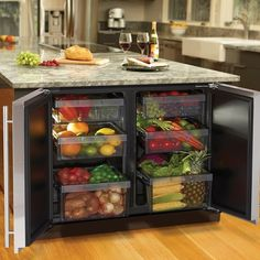 Undercounter Refrigerator by U Line. crazy expensive, but also possible to make with two mini-bar fridges that are probably cheeper
