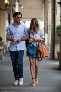 Denim skirt outfit inspiration, courtesy of Olivia Palermo.