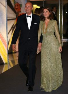 Prince Serge of Yugoslavia arrives with his wife Eleonora at the 'Bal de la Rose' (Rose Ball) for the 50th anniversary of Princess Grace Foundation, in Monaco, 29.03.14.