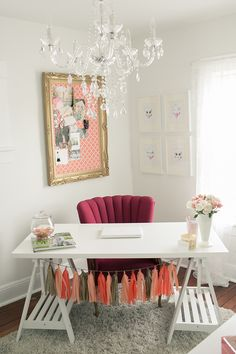 desk set-up, chandelier