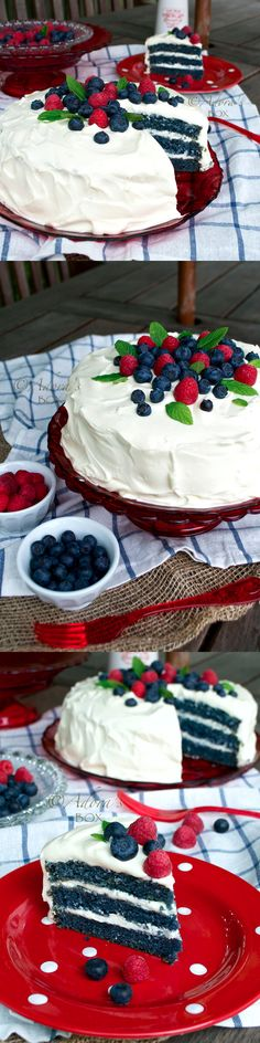 Blueberry Red Velvet Cake with Greek Yogurt and Cream Cheese Frosting
