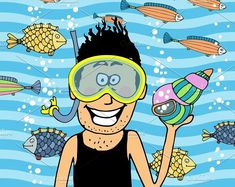 swimmer wearing snorkel and seashell. Summer #activity #diver
