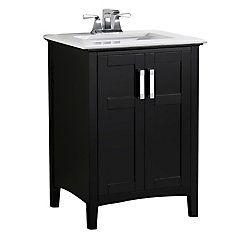 Home :: Bathroom Vanities :: Winston 24 Inch Bath Vanity With Bombay White Engineered Quartz Marble Top Basin Cabinet, Vanity Cabinet, Vanity Set, Marble Vanity Tops, Marble Top, 24 Inch Vanity, Black Bath, Single Sink Bathroom Vanity, Downstairs Bathroom