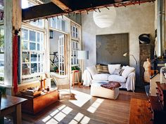 Rustic industrial chic. Charming, homely living space.