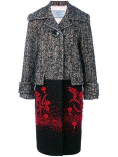 Prada длинное твидовое пальто