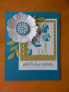 Dianne's cards-SU Flower Punch and So Happy For You stamp