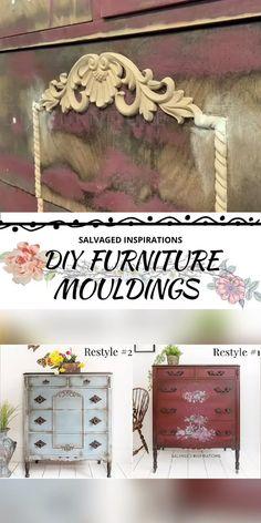 Create Your Own Furniture Trim Designs Diy Furniture Trim, Diy Furniture Appliques, Create Your Own Furniture, Diy Furniture Projects, Refurbished Furniture, Paint Furniture, Repurposed Furniture, Diy Furniture Antiquing, Decopage Furniture