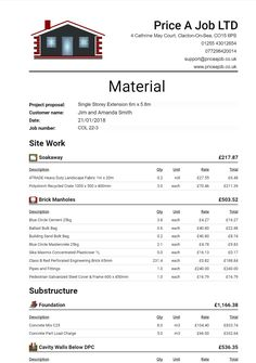 Materials List Order List Materials Spreadsheet Construction Estimating Software Construction Estimating Software Engineering Notes Software