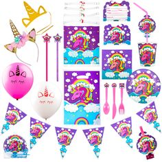 Magically enjoy your birthday party food and get your guests enjoy the full essence of the motiff. Birthday party hats, invitations, games and party favors for 10 guests. The guest of honor gets to wear the plush unicorn horn headband. Party Favors For Kids Birthday, Unicorn Birthday Parties, Birthday Party Decorations, Unicorn Horn Headband, Rainbow Unicorn Party, Unicorn Party Supplies, Unicorn Gifts, Invitations, Invitation Cards