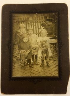 c1915 Endearing Gang of Children & Teddy Bears Antique Cabinet Photo