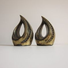 Brass Flame JenfredWare Bookends by ModernSquirrel on Etsy, $145.00