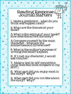 28 Reading Response Journal Prompts (FREE) ... could totally see this working perfectly at a center