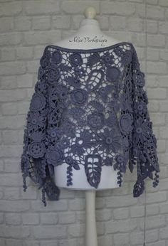 Gift for women Irish crochet Shawl Women& Chic Floral Freeform Crochet, Irish Crochet, Crochet Shawl, Crochet Lace, Knit Cowl, Hand Crochet, Lace Knitting, Baby Knitting Patterns, Finger Knitting