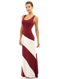 Casual Sleeveless Color Block Maxi Dress - OASAP.com