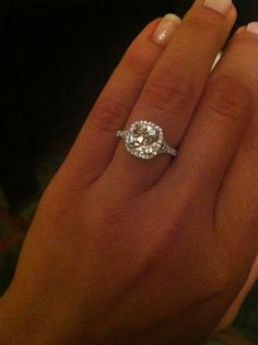 Show me your 2 carat + diamond rings :  wedding 215 carat center stone halo engagement ring 1 large engagment rings ring IMG 7111