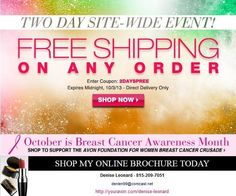 Free shipping through midnight tonight, Thur 10/3/13 - any size order - shop at youravon.com/denise-leonard