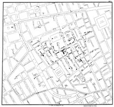 Dr John Snow plotted occurrences of cholera on a map of