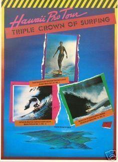 Vintage Mint Original 1984 Duke Kahanamoku Hawaii Surfing Surf Contest Poster
