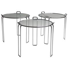 Stackable Set of Three Nesting Tables by Saporiti | From a unique collection of antique and modern nesting tables and stacking tables at https://www.1stdibs.com/furniture/tables/nesting-tables-stacking-tables/