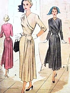 Late 1940s Stunning Dress Pattern McCall 7824 Surplice Draped Bodice Front and Back Side Panels Day or Evening Dress Bust 34 Vintage Sewing Pattern