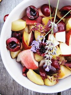 Stone fruit salad with lemon-lavender syrup | {Katie at the Kitchen Door}