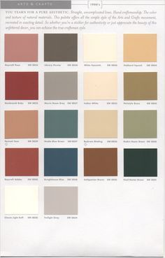 arts crafts interior paint pallete sherwin williams. Black Bedroom Furniture Sets. Home Design Ideas