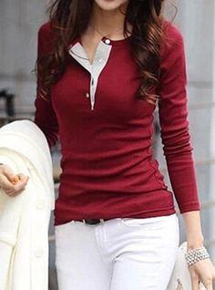 Stylish Jewel Neck Long Sleeve Color Block T-Shirt For Women