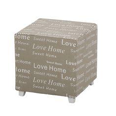Retro taburetka s potlačou Love Home, sivá