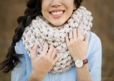 Jumbo Puff Stitch Cowl Pattern