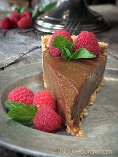Raw Chocolate and Caramel French Silk Pie (nut-free)