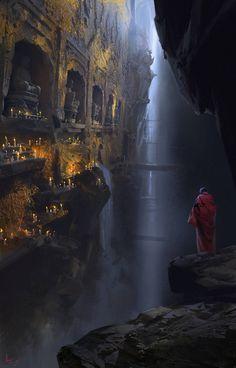 Worship by ling xiang - The Art Showcase Fantasy City, Fantasy Places, Sci Fi Fantasy, Fantasy World, Dark Fantasy, Fantasy Art Landscapes, Fantasy Landscape, Landscape Art, Fantasy Concept Art