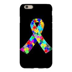 $25 Autism Ribbon iPhone 6 Slim Case. Autism puzzle ribbon to raise awareness for autistic children. I love someone with autism. Beautiful gift.