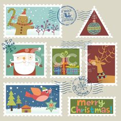 Christmas Stamp Collection royalty-free stock vector art