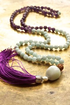 Amethyst mala beads Amazonite mala Purple and blue Purple tassel necklace Pure silk tassel Creativity mala necklace Sacred jewelry Spiritual