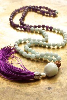 Amethyst mala beads Amazonite mala Purple and blue Purple tassel necklace Pure silk tassel Creativity mala necklace Sacred jewelry Spiritual