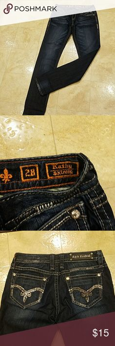 Rock Revival Jeans Good condition little where in the back side of the Jean by the ankle Rock Revival Jeans Skinny