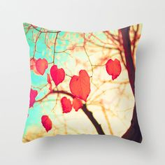 Pillow cover, fall pillow, coral pillow, turquoise pillow, pink pillow, office decor, dorm decor, tree pillow,tree art,aqua pillow,mint