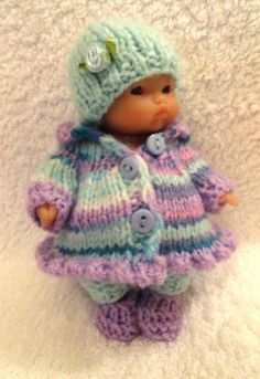 """Hand Knitted Dolls Clothes for Berenguer, Ooak Doll, 5""""; 6.5""""-7""""; 8"""" (#100) 