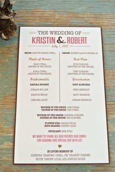Unique Fun Wedding Programs Wording Examples - Entertainment ...