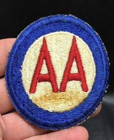 Antique Vintage WW2 AA Army Anti Aircraft Shoulder Patch Red White Blue | eBay