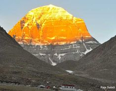 Mount Kailash - The Abode of Lord Shiv and Parvati. Color Gold due to Sunlight.