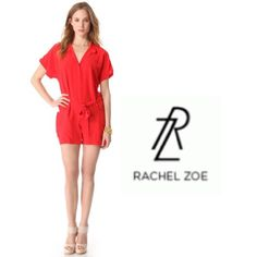 Rachel Zoe silk romper Rachel Zoe's runway romper. Spacious side pockets add a hint of volume to a lustrous silk romper with button-tab epaulets and an optional self-belt. Buttoned closure. Brand new and only worn once indoor.   Fabric: Silk crepe. 100% silk. 100% authentic  Dry clean. Sold out style . Rachel Zoe Dresses