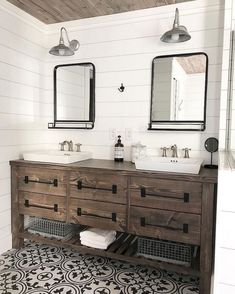 This solid wood, rustic farmhouse style double bath vanity features 4 or 6 roomy. This solid wood, rustic farmhouse style double bath vanity features 4 or 6 roomy… Bad Inspiration, Bathroom Inspiration, Bathroom Ideas, Bathroom Hacks, Shower Ideas, Budget Bathroom, Bathroom Colors, Bathroom Organization, Aqua Bathroom